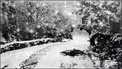 Snow Storm Painting - Snow At Dusk by Douglas MooreZart