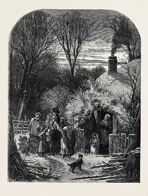 Christmas Eve, The Cottagers Return From Market Art Print