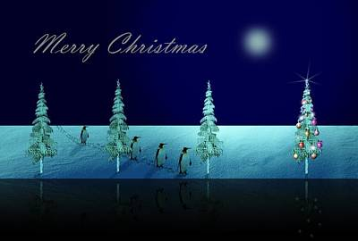Penguin Digital Art - Christmas Eve Walk Of The Penguins  by David Dehner