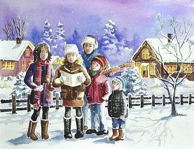Painting - Christmas Family Caroling by Gertrudes  Asplund