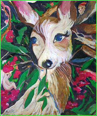 Fawn Mixed Media - Christmas Fawn by Mindy Newman
