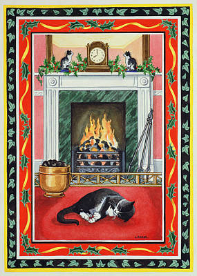 Mantlepiece Painting - Christmas Fire by Lavinia Hamer