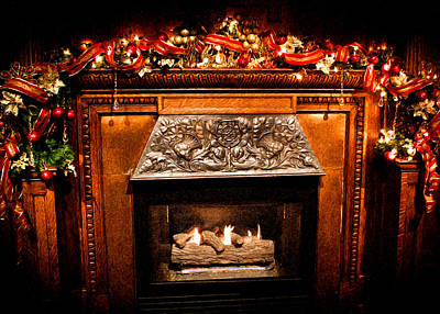 Photograph - Christmas Fireplace by Joann Copeland-Paul