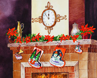 Painting - Christmas Fireplace Time For Holidays by Irina Sztukowski