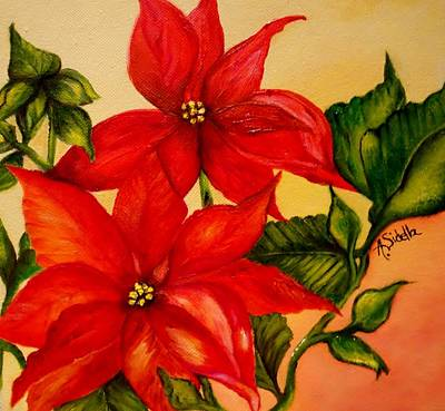 Painting - Christmas Flowers by Annamarie Sidella-Felts