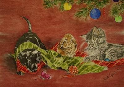 Drawing - Christmas Friends by Melita Safran