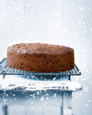 Falling Snow Photograph - Christmas Fruit Cake by Amanda Elwell