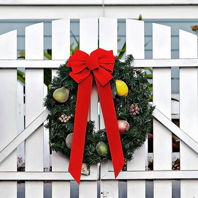Photograph - Christmas Garland by Art Block Collections