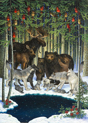 Wild Animals Painting - Christmas Gathering by Lynn Bywaters
