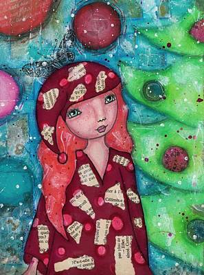 Mixed Media - Christmas Girl by Barbara Orenya