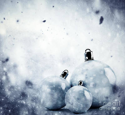 Vintage Photograph - Christmas Glass Balls On Winter Vintage Background by Michal Bednarek