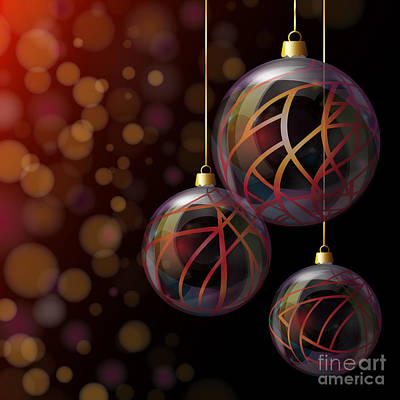 Christmas Glass Baubles Art Print by Jane Rix