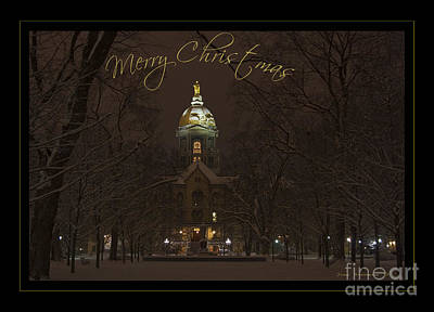 Christmas Greeting Card Notre Dame Golden Dome In Night Sky And Snow Print by John Stephens