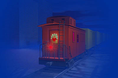 Caboose Digital Art - Christmas Greetings by Carol and Mike Werner