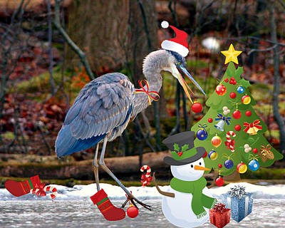 Digital Art - Christmas Heron by Angel Cher