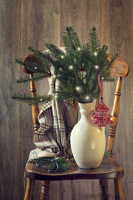 Country House Photograph - Christmas Holiday Chair by Amanda Elwell