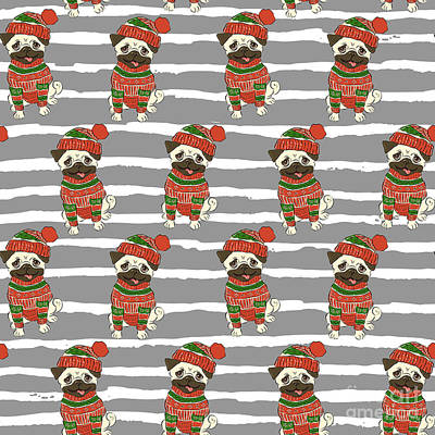 Pug Wall Art - Digital Art - Christmas Holidays Seamless Vector by Nikolaeva