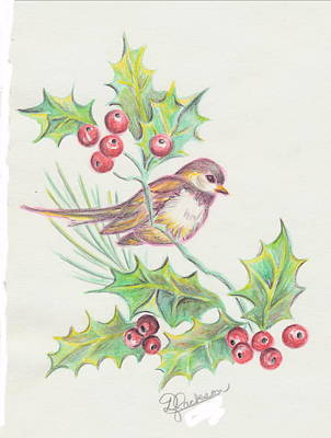 Painting - Christmas Holly Bird by Dale Jackson
