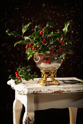 Scissors Photograph - Christmas Holly by Amanda Elwell