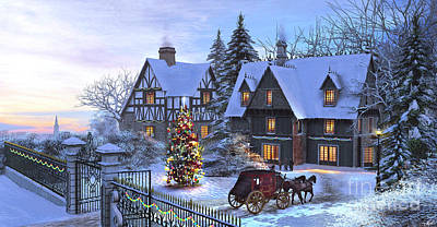 Winter Night Digital Art - Christmas Homecoming by Dominic Davison