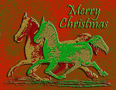 Digital Art - Christmas Horses Red And Green by Michele Avanti