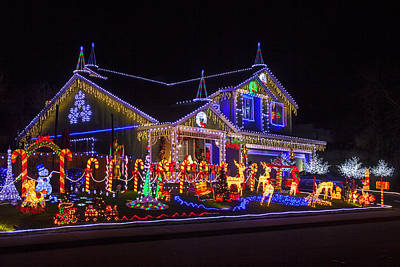 Mailbox Photograph - Christmas House by Garry Gay