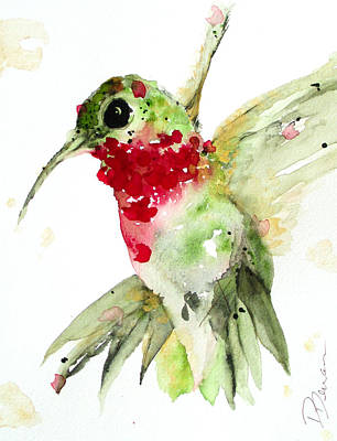 Nature Inspired Painting - Christmas Hummer by Dawn Derman