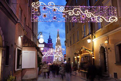 Christmas Holiday Scenery Photograph - Christmas Illumination On Piwna Street In Warsaw by Artur Bogacki