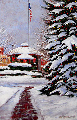 Bandstand Painting - Christmas In Chagrin Falls by Maryann Boysen