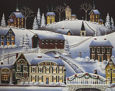 Covered Bridge Painting - Christmas In Fox Creek Village by Catherine Holman