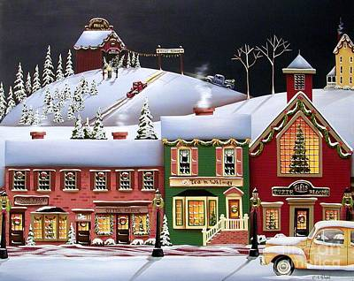 Folk Art Painting - Christmas In Holly Ridge by Catherine Holman