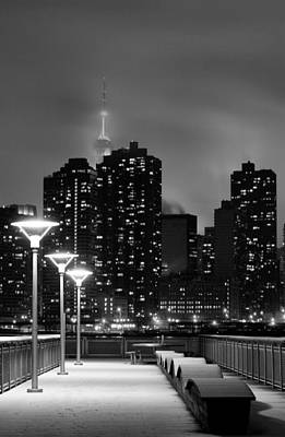 Snowy Night Photograph - Christmas In Nyc Black And White by JC Findley
