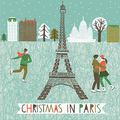 Couple Wall Art - Digital Art - Christmas In Paris Print Design by Lavandaart