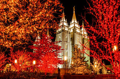 Utah Temple Photograph - Christmas In Red by La Rae  Roberts
