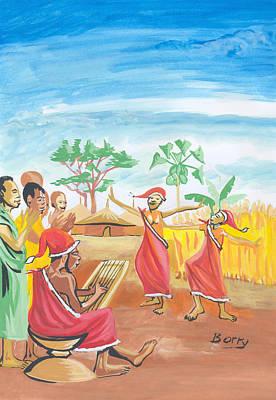 Art Print featuring the painting Christmas In Rwanda by Emmanuel Baliyanga