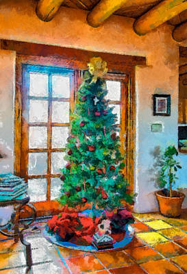 Digital Art - Christmas In Taos by Charles Muhle