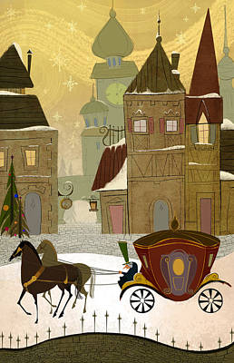 Animals Digital Art Royalty Free Images - Christmas in the old world Royalty-Free Image by Kristina Vardazaryan