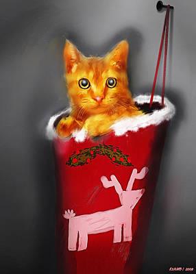 Christmas Kitten Art Print by Ken Morris