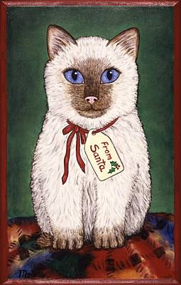 Animal Portraits Painting - Christmas Kitten by Linda Mears