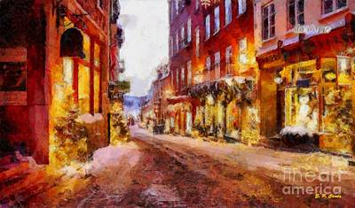 Store Fronts Painting - Christmas Lane by Elizabeth Coats