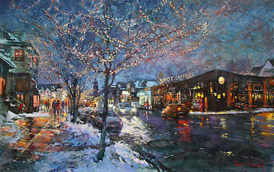 Spotted Painting - Christmas Lights In Elmwood Ave  by Ylli Haruni
