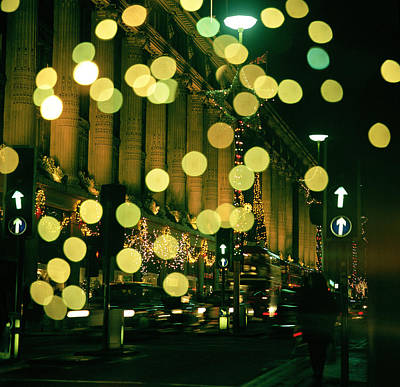 Selfridge Photograph - Christmas Lights In Oxford Streeet by Unknown Photographer