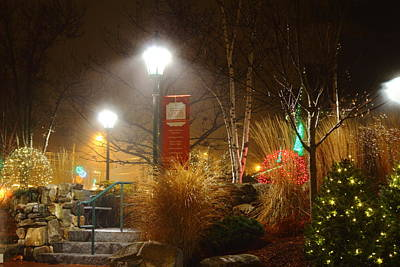 Christmas Lights In The Fog And Rain Art Print by Stephen Hobbs