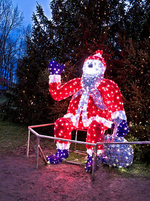 Photograph - Christmas Lights Santa Clause Under The Tree by Brch Photography