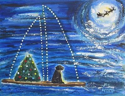 Black Cocker Spaniel Painting - Christmas Magic by Diane Pape