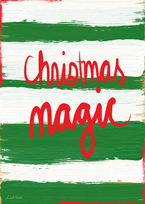 Calligraphy Mixed Media - Christmas Magic - Greeting Card by Linda Woods