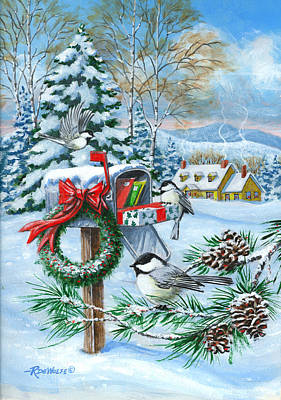 Mail Box Painting - Christmas Mail by Richard De Wolfe