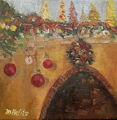 Painting - Christmas Mantle At The Mission Inn by MaryAnne Ardito