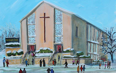 Waltham Painting - Christmas Mass At Saint Joseph's Church by Rita Brown