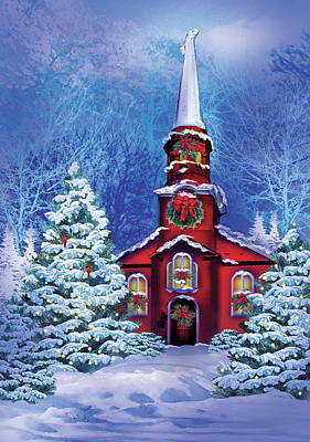 Winter Landscape Painting - Christmas Meeting House by P.s. Art Studios